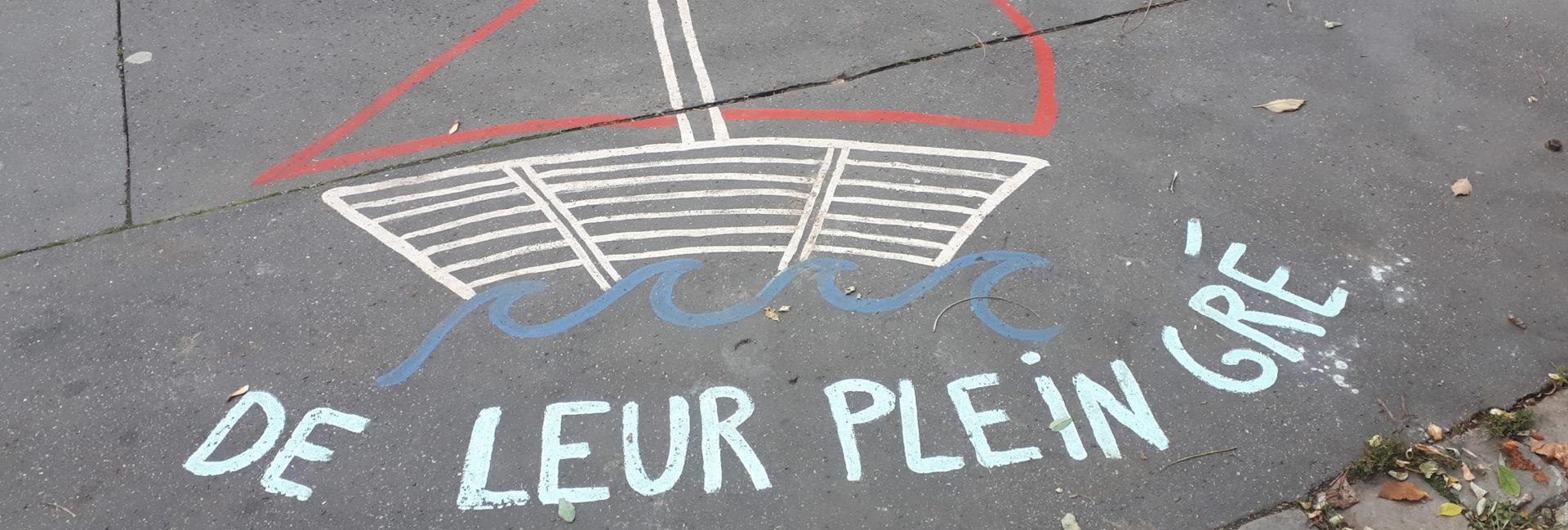 Lors d un de mes rares passage sur Paris, je tombe sur ce dessin sur un trottoir. Malheureusement, Pierre Perret est plus que jamais d actualité ! <br>Mark Bernie - Sur les trottoirs de Paris - c Mark Bernie