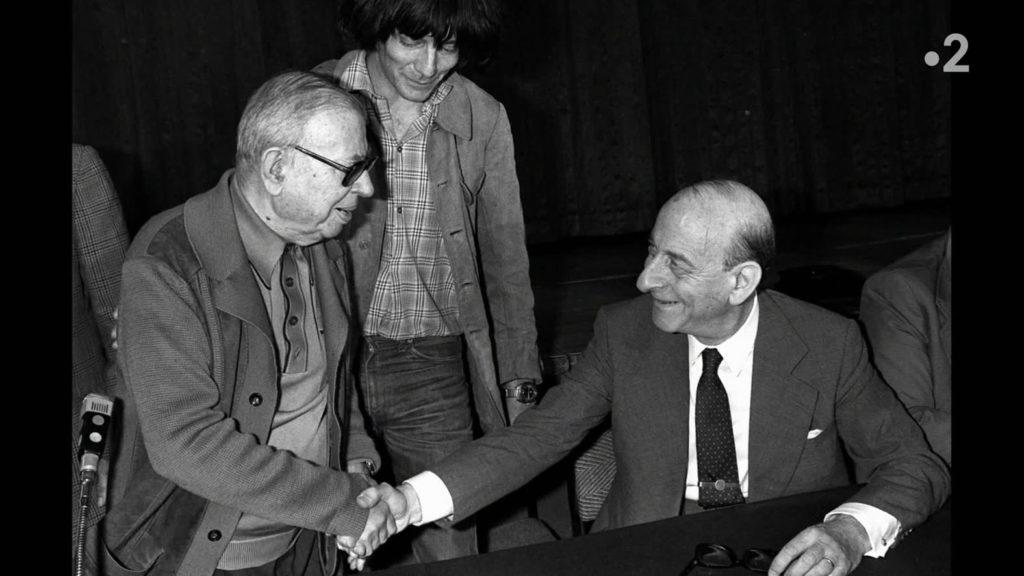 Sartre, Aron et Glucksmann sur le perron de l'Elysée : les intellectuels de tous bords se mobilisent pour la bonne cause !